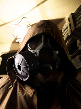 Soldier in the underground bomb shelter Stock Photo - 4855123
