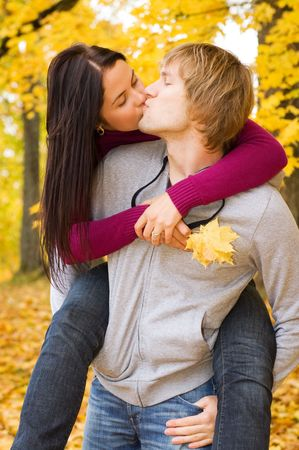 romantic sexy couple: Happy couple outdoors  Stock Photo