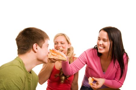 Friends are having fun and eating pizza photo