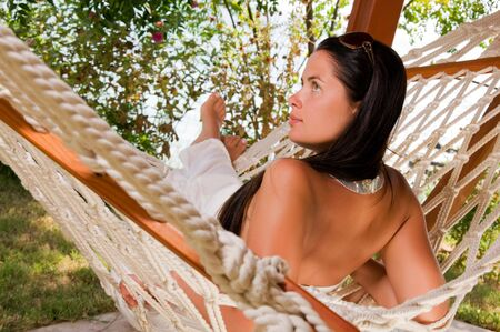 Young woman in hammock  photo
