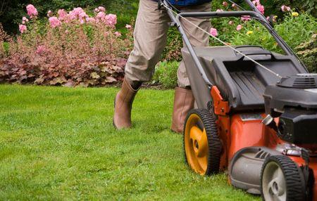 tondeuse: Jardinier tondre la pelouse.  Banque d'images