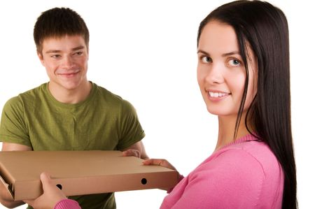 Young woman receive for a package delivered by a courier.  photo