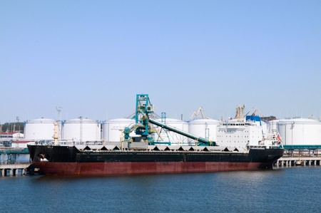 The cargo ship in port on loading