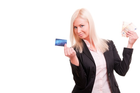 Business woman with a credit card and cash in her hand Stock Photo - 8341278