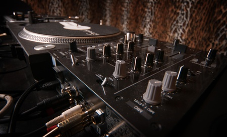 dj decks and mixer Stock Photo