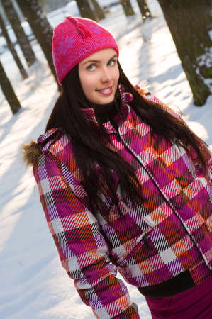 Beautiful young woman outdoor in winter  photo