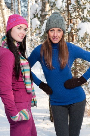 Two young beautiful girls in winter Stock Photo - 8786274