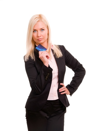 businesswoman card: Young business woman holding new credit card