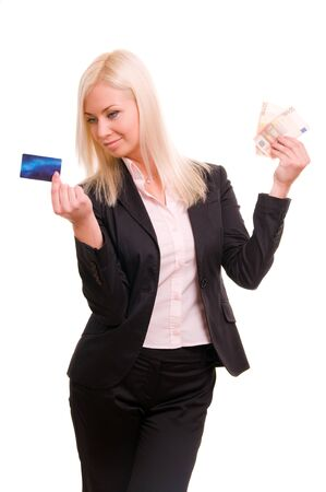 Business woman with a credit card and cash in her hand Stock Photo - 8786086