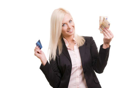 Business woman with a credit card and cash in her hand Stock Photo - 8786028