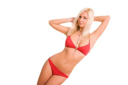 Sexy woman in red bikini with copy space. photo