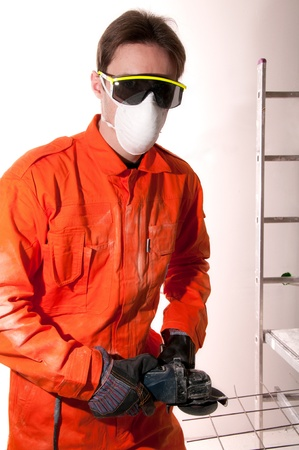 Construction worker at work photo