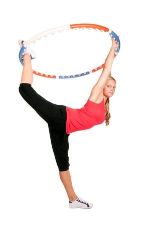 hula: Woman holding hoop