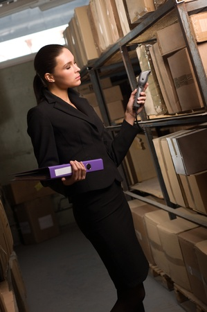 hand truck: Business woman stock counting in warehouse