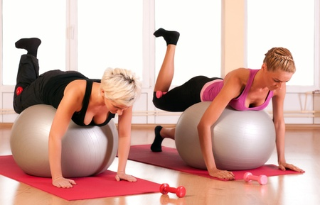 fit ball: Group of people doing fitness exercise Stock Photo