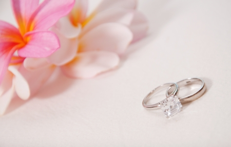 Two wedding rings laying on wedding dress  photo