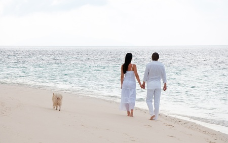 Picture of romantic young couple having a walking on the sea shore with dog photo