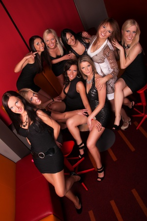Image of group pretty girls in night club photo