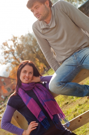 Portrait of a young couple in the countryside  photo