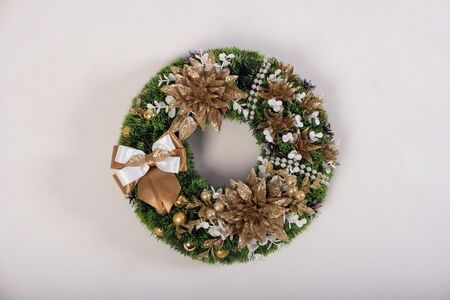 artificial flowers: Artificial flowers wreath on white