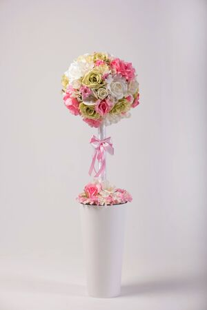 flowers in vase: Artificial flowers bouquet in the vase