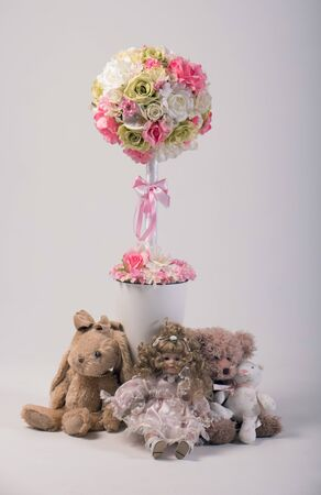 artificial flower: Artificial flowers bouquet in the vase