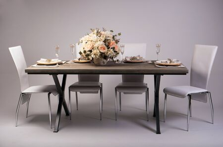 empty table: Wooden table setting and decoration for meal time