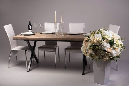 meal time: Wooden table setting and decoration for meal time