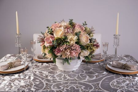 table decoration: Wooden table setting and decoration for meal time