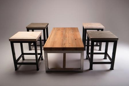 rustic kitchen: modern wooden table studio shot Stock Photo