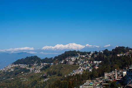 darjeeling: view of kanchenjunga mountain and tea gardens of darjeeling India