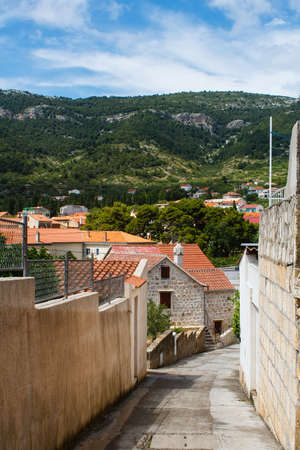 mediterranean forest: stone pavement on street in traditional village in mountains covered with forest on the island in mediterranean sea