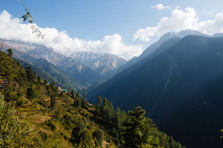 indian village: small indian village in the valley in himalayan mountains