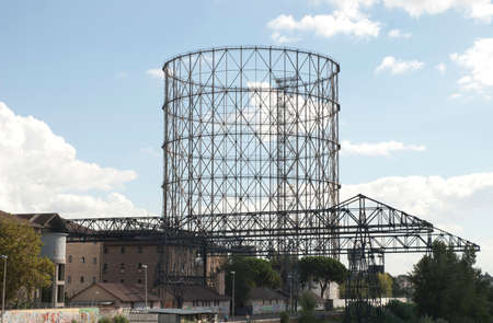 a river side view of the gasometer of rome