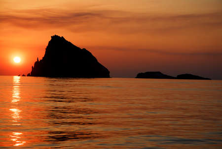 eolie: colorful sunset on the mediterranean sea Stock Photo