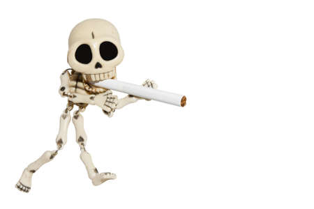 the kills: No smoking concept with skeleton  Isolated On White