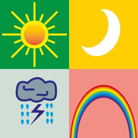 zon en maan: 4 weer iconen - zon, maan, onweer, een regenboog van verschillende achtergronden Stock Illustratie