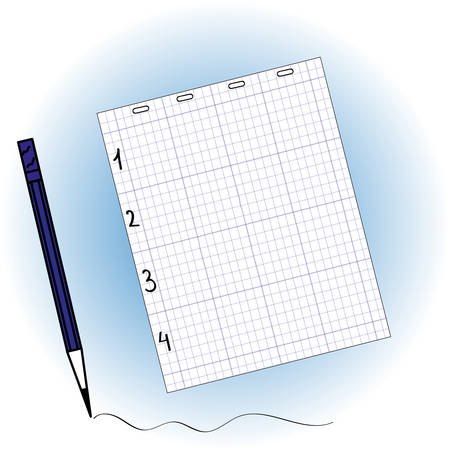 whiteblue: sheet of notebook and pencil on white-blue background
