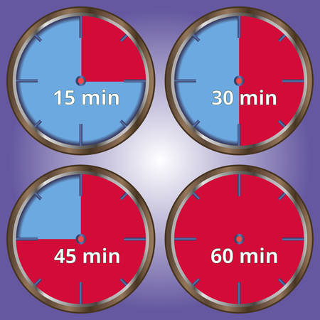 gaps: Set of 4 icons timer, 4 sections with minutes Illustration