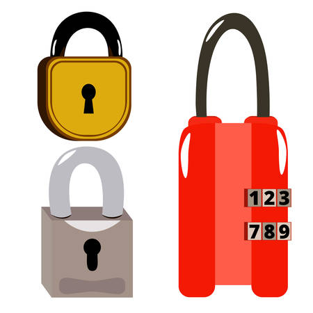with sets of elements: a set of three locks on white background