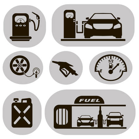 petrol station: Set of black vector icons petrol station on a white background Illustration