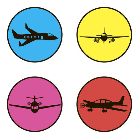 set of black icons 4 aircraft on a white background