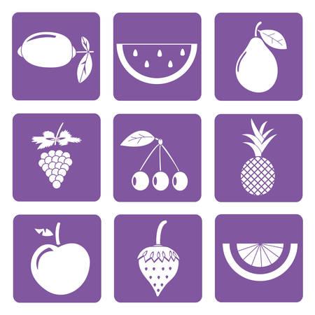 tropical fruit: set of 9 icons of white fruit