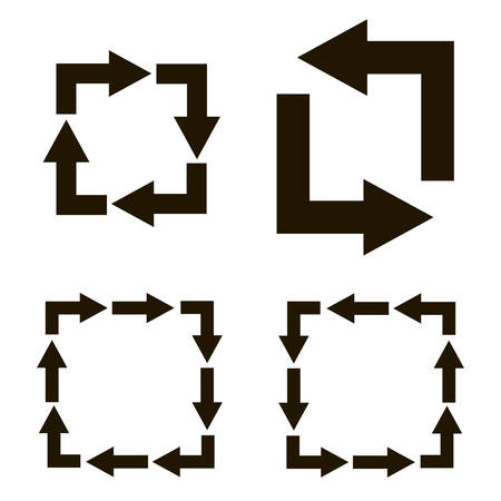 turns: Black arrows turns form a square on a white background Illustration