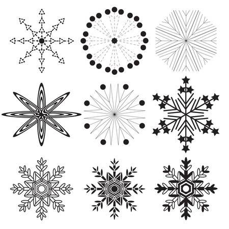 blizzards: set of 9 black snowflakes on a white background