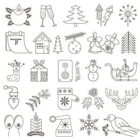 black stroke: set of 25 Christmas icons with black stroke on a white background