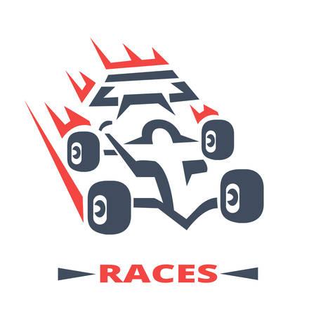 bolide: symbol of formula racing on white background