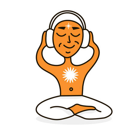 listener: image of a man listening to music, sitting in the lotus position on white background