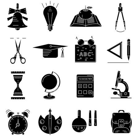 black icons about school and education on white background