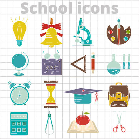 set of 20 school icon flat on tetrad background